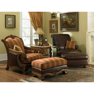 Michael Amini Toscano Leather Chair and Ottoman