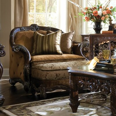 Essex Manor Chair and Ottoman by Michael Amini