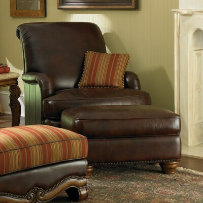 Toscano Leather Chair and Ottoman by Michael Amini