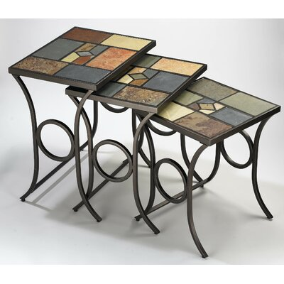 Pompei Slate 3 Piece Nesting Tables by Hillsdale