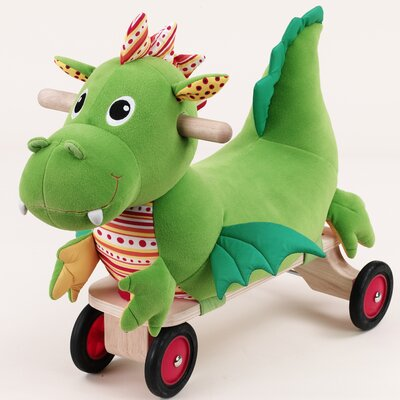 Softwood Puffy Dragon Plush Push/Scoot Ride-On by Wonderworld