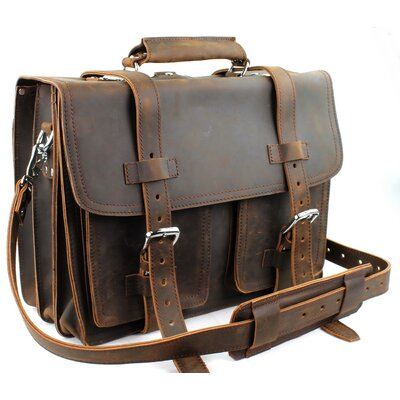 Heavy Duty Leather Briefcase by Vagabond Traveler