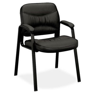 Basyx by HON Leather Chair with Leg Base and Padded Arms