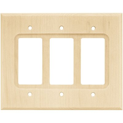 Wood Square Triple Decorator Wall Plate by Brainerd