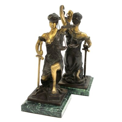 Bey-Berk Kneeling Lady Justice Book Ends