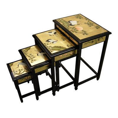 Grand international decor gold leaf 4 piece nest of tables for Grand international decor