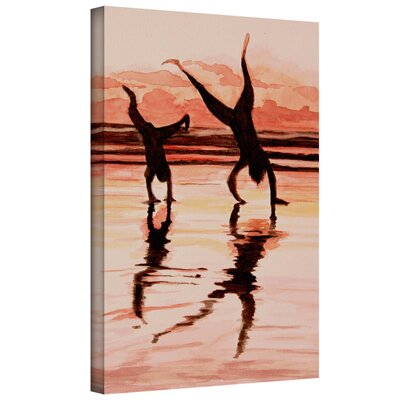 ArtWall 'Beach Buddies Handstands' by Lindsey Janich Gallery Wrapped on Canvas