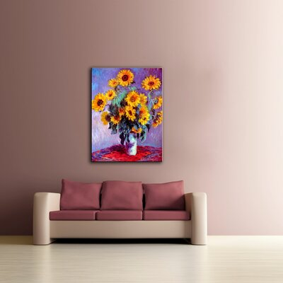 tile floor and decor wall quot sunflowers quot by claude monet canvas painting 22296