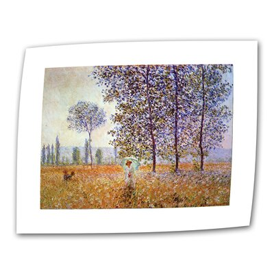 """ArtWall """"Poplars"""" by Claude Monet Painting Print on Canvas"""