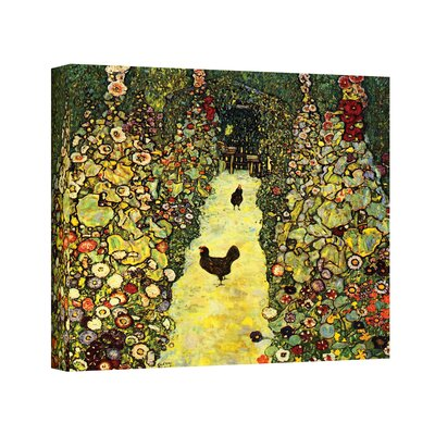 ArtWall ''Garden Path with Chickens'' by Gustav Klimt Painting Print on Canvas