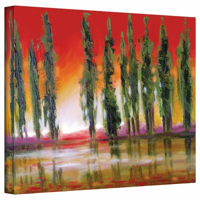 'Tuscan Cypress Sunset' by Susi Franco Painting Print on Canvas by ArtWall