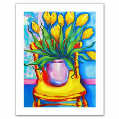 'Yellow Tulips in van Gogh's Chair' by Susi Franco Painting Print on Canvas by ArtWall ...