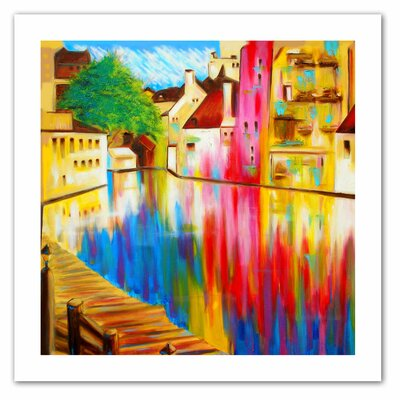 """ArtWall """"River Through Treviso"""" by Susi Franco Painting Print on Canvas"""