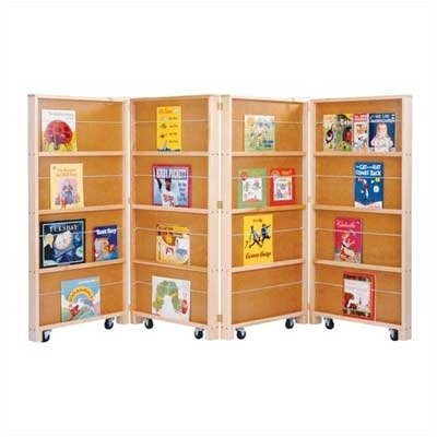 Jonti-Craft Mobile Library Bookcase with 4 Sections