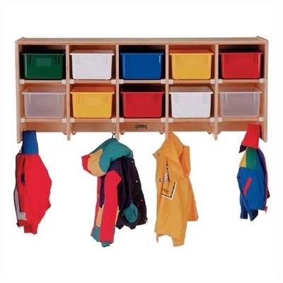 Jonti-Craft 10-Sections Wall Mount Coat Locker