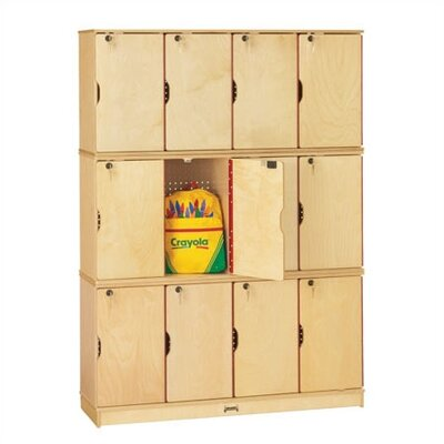 Jonti-Craft 12-Sections Triple Stack Lockable Lockers