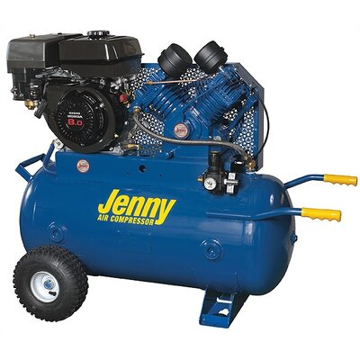 Jenny Products Inc 30 Gallon 11 HP Gas Engine Single Stage Wheeled Portable Air Compressor