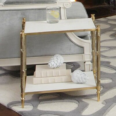 Arbor Side Table in Brass and White Marble by Global Views