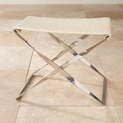 Global Views Woven Cowhide Leather Folding Bench