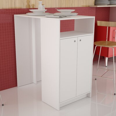 Accentuations Beautiful Sleek Boon Bar Table with 3- Shelves in White by Manhattan Comfort