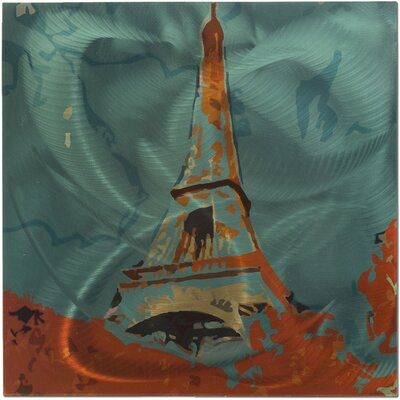 Eiffel Tower Painting Print Plaque by Metal Art Studio