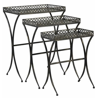 Script Mirrored Glass 3 Piece Nesting Table Trio by Bombay Heritage
