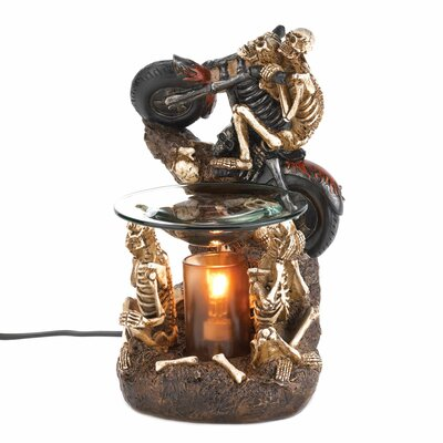 Zingz & Thingz Skeleton Biker Polyresin and Glass Oil Warmer
