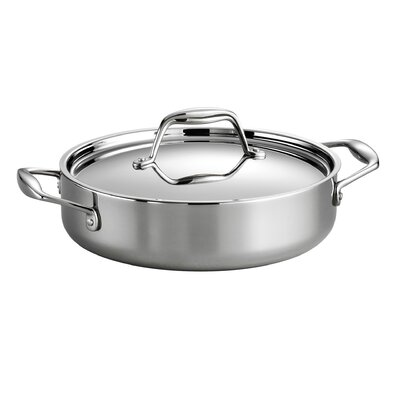 Gourmet Stainless Steel Round Braiser with Lid by Tramontina