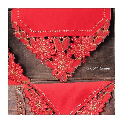 Holiday Spirit Embroidered Cutwork Holiday Table Runner by Xia Home Fashions