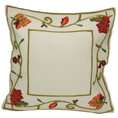 Harvest Vine Crewel Embroidered Harvest Cotton Throw Pillow by Xia Home Fashions