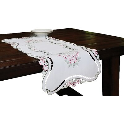 Rose Design Embroidered Cutwork Table Runner by Xia Home Fashions
