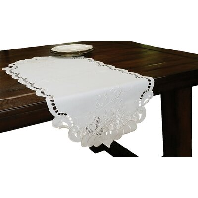Grapes and Leaves Embroidered Cutwork Table Runner by Xia Home Fashions