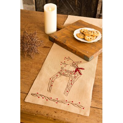Rustic Reindeer Jute Christmas Table Runner by Xia Home Fashions