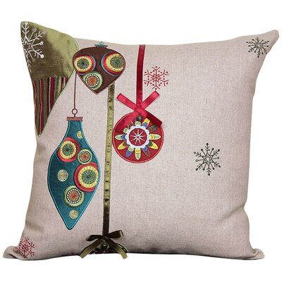 Xia Home Fashions Noel Ornaments Embroidered Holiday Linen Throw Pillow & Reviews Wayfair