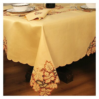 Bountiful Leaf Embroidered Cutwork Fall Table Cloth by Xia Home Fashions