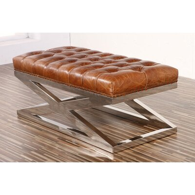 Lyon Leather Bench by Pasargad