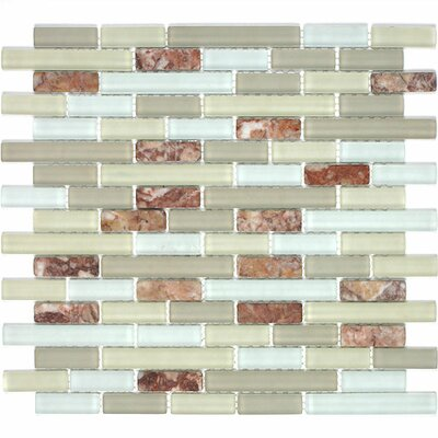 Giorbello Glacier Mountain Random Sized Glass and Natural Stone Mosaic Tile in Fire and Ice