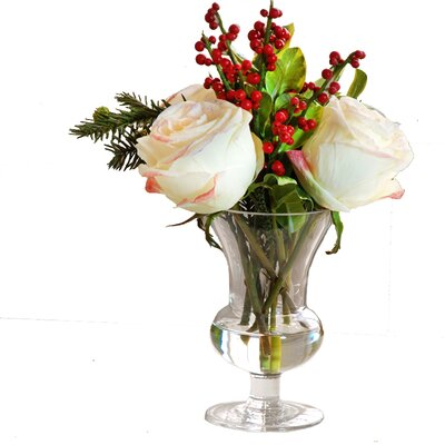 Holiday Rose and Ilex Arrangement Glass Vase by Jane Seymour Botanicals
