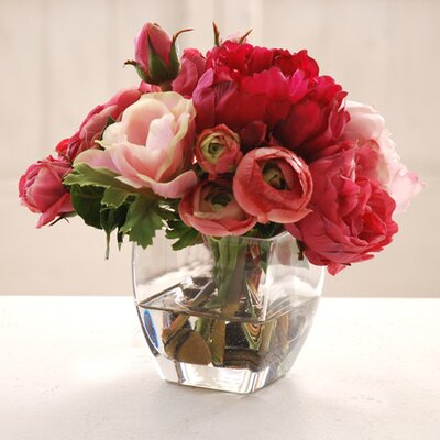 Rose and Peony in Glass Vase by Jane Seymour Botanicals