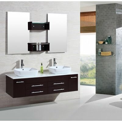 Kokols 60 Quot Double Floating Bathroom Vanity Set With Mirror Amp Reviews Wayfair