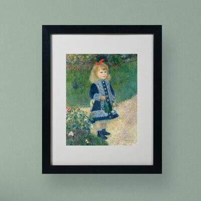 "Trademark Fine Art ""A Girl With a Watering Can"" by Pierre-Auguste Renoir Matted Framed Painting Print"