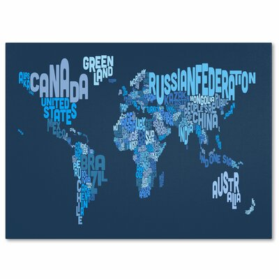 """Trademark Fine Art """"World Text Map 2"""" by Michael Tompsett Textual Art on Wrapped Canvas"""