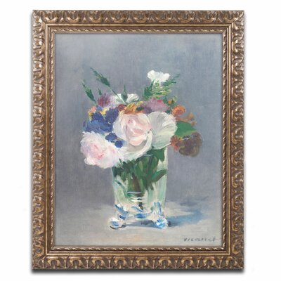 'Flowers In a Crystal Vase' by Edouard Manet Framed Painting Print by Trademark Art