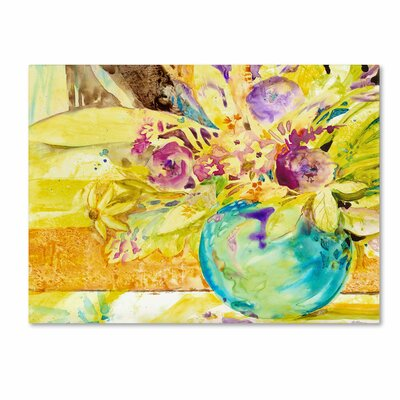 'The Aqua Vase' by Sheila Golden Painting Print on Wrapped Canvas by Trademark Art