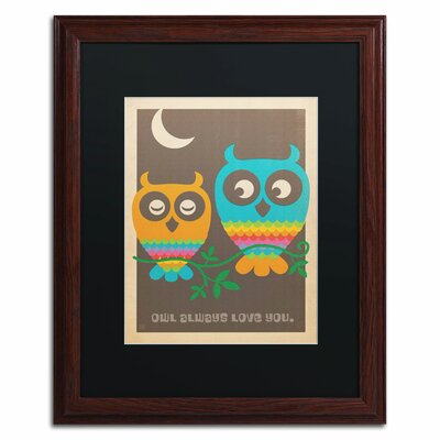'Rainbow Owls' by Anderson Design Group Framed Graphic Art by Trademark Art