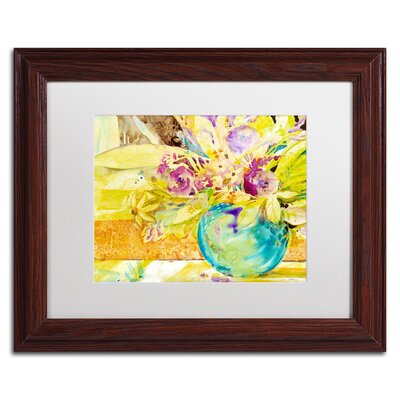 'The Aqua Vase' by Sheila Golden Framed Painting Print by Trademark Art