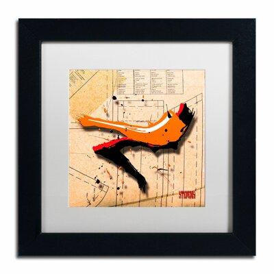 'Suede Heel Orange' by Roderick Stevens Framed Graphic Art by Trademark Art