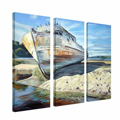 "Trademark Fine Art ""Inverness Boat"" by Colleen Proppe Painting Print 3 Panel Art Set"