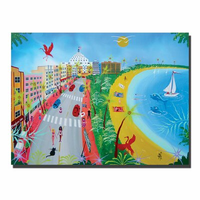 "Trademark Fine Art ""Ocean Drive"" by Herbet Hofer Painting Print on Wrapped Canvas"