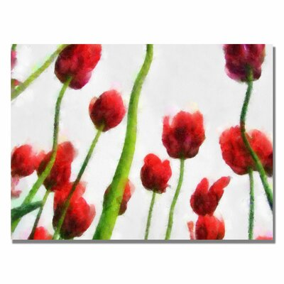 'Red Tulips from Bottom Up III' by Michelle Calkins Painting Print on Canvas by Trademark ...
